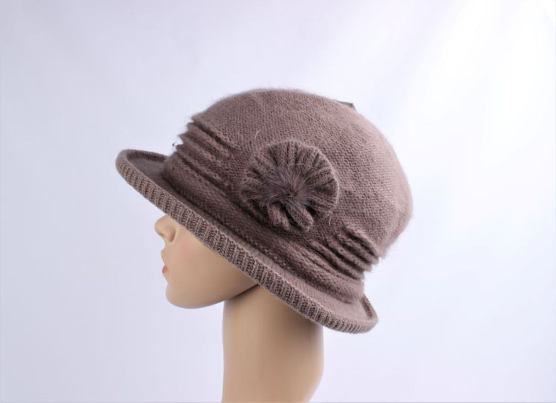 Headstart angora brimmed  cloche w fur flower mocha  Style : HS/4755MOC image 0