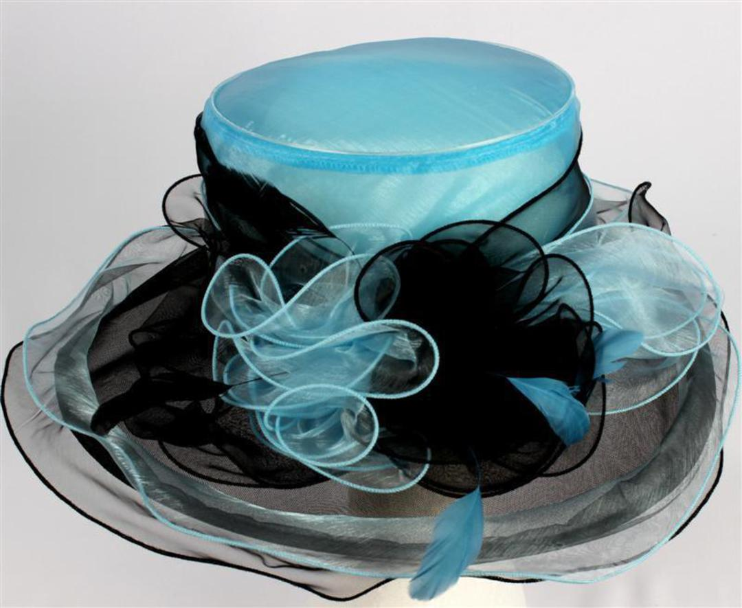 Organza fashion hat turquoise Code:HS/1212 image 0