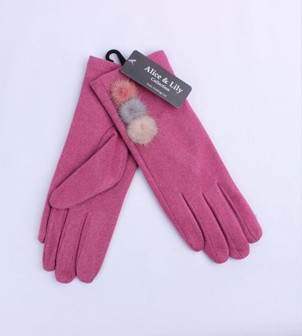 Winter ladies faux suede glove w  fur trim rose Style; S/LK4763/RSE image 0