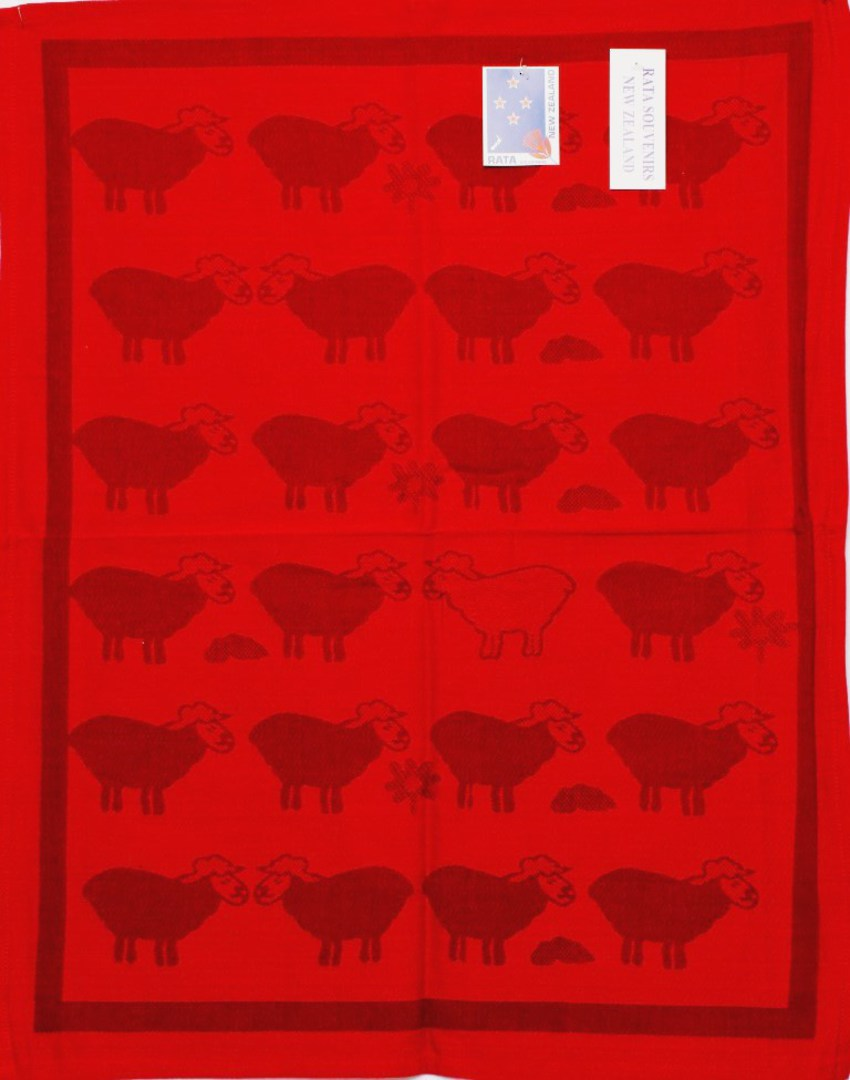 """Sheep Country"" tea towel red. CODE: S730/RED image 0"