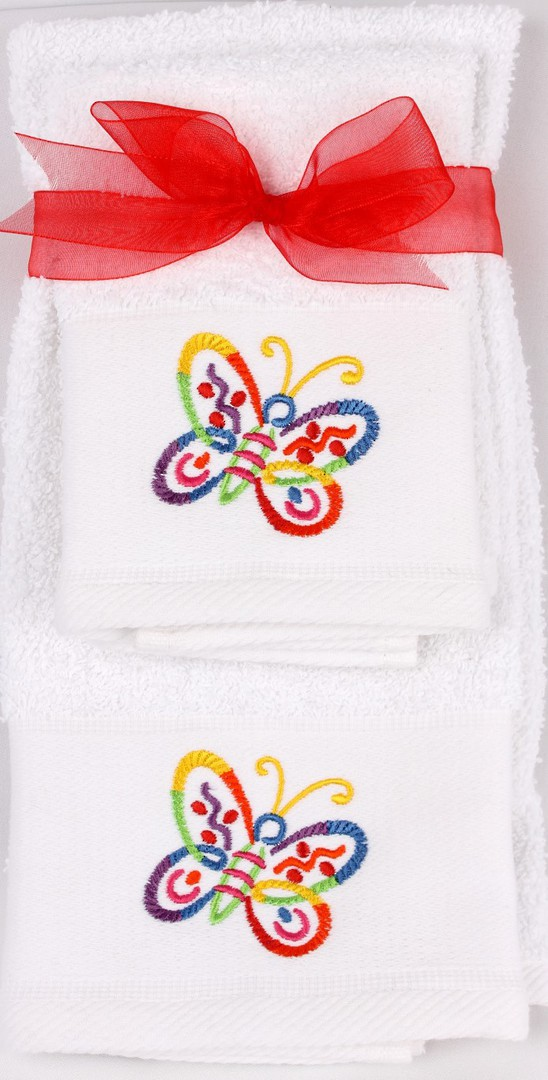 Matching Embroidered Handtowel and facecloth gift set- butterfly Code: FH-BUTT image 0