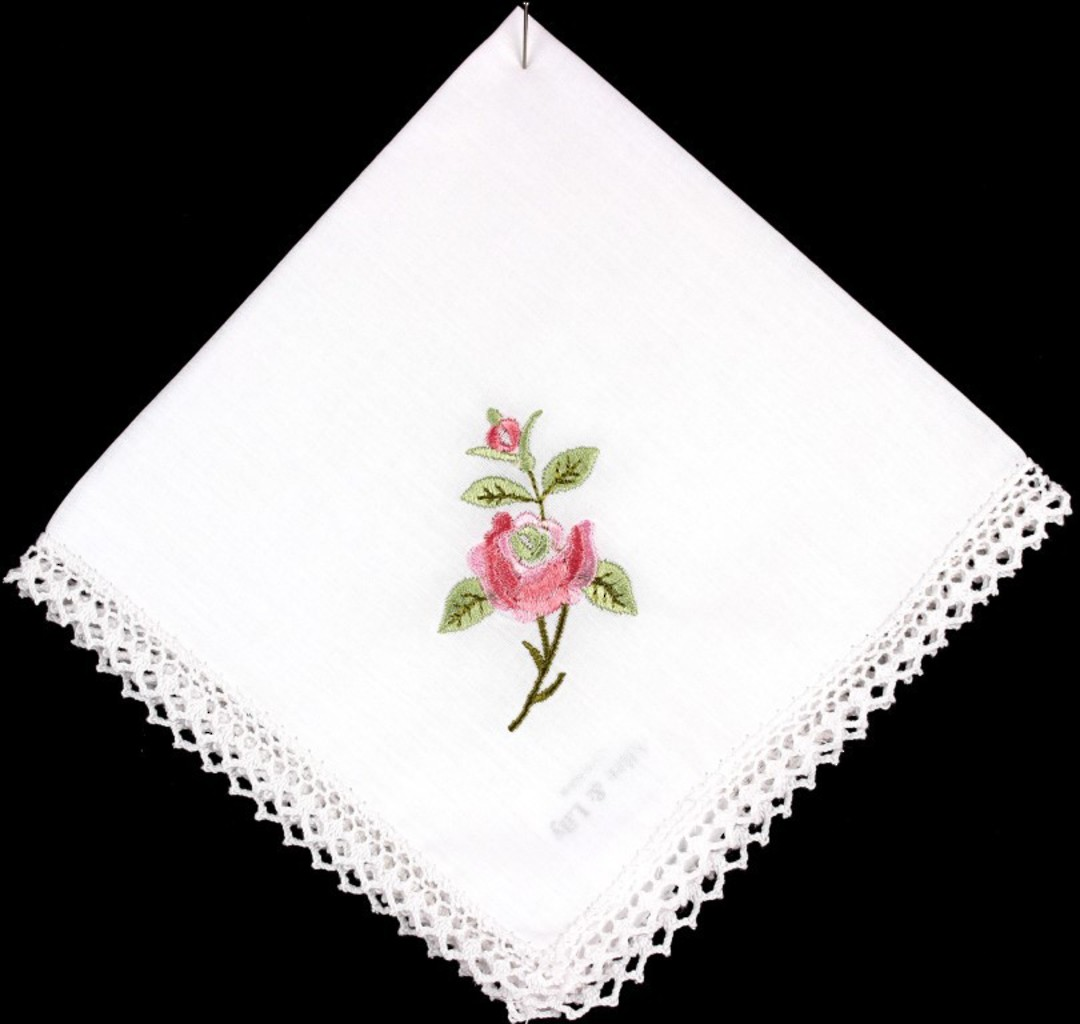 Embroidered lace handkerchiefs 'New Rose ' Style: EHC/NROSE image 0