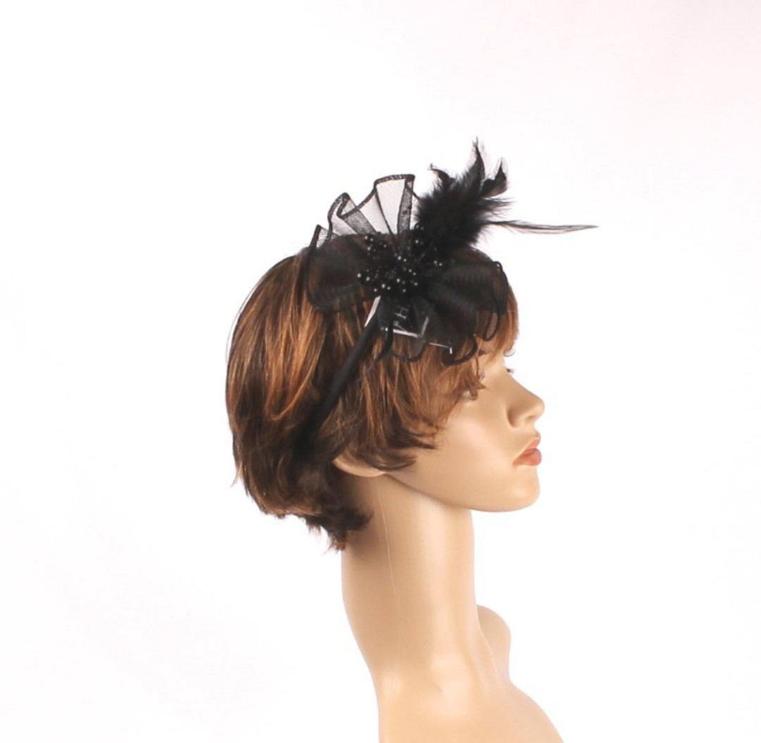 Head band crin  fascinator w feathers and beads black STYLE: HS/4677 /BLK image 0