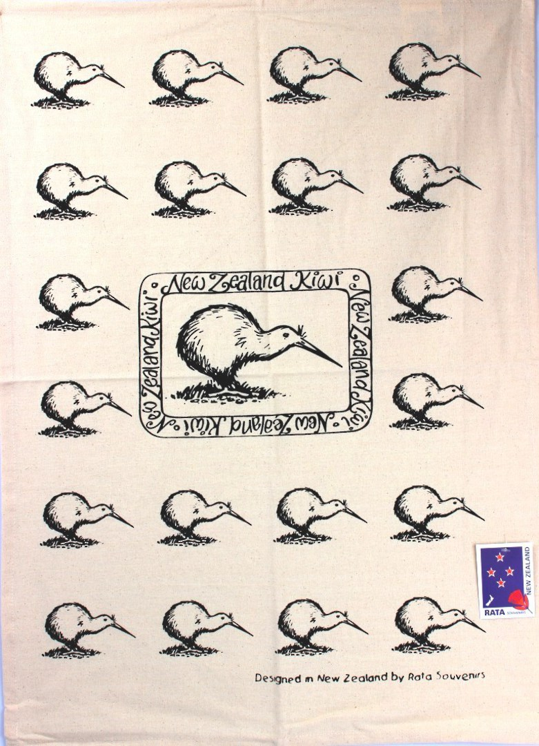 """Kiwi"" tea towel black. Code: S775/K. image 0"
