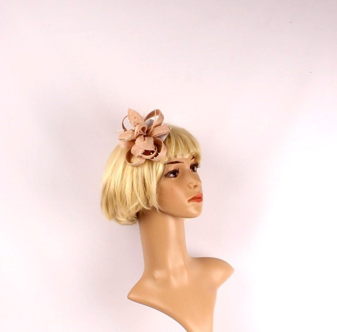 Linen fascinater w beads and feathers gold STYLE: HS/4687/GLD image 0