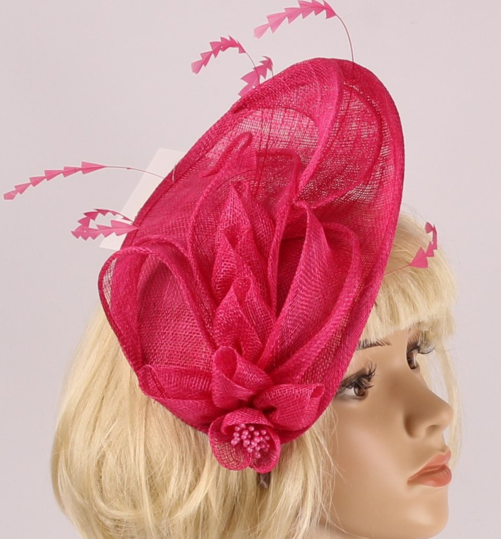 Head band sinamay  hatiinator w feathers hot pink STYLE: HS/3028 /HPNK image 0