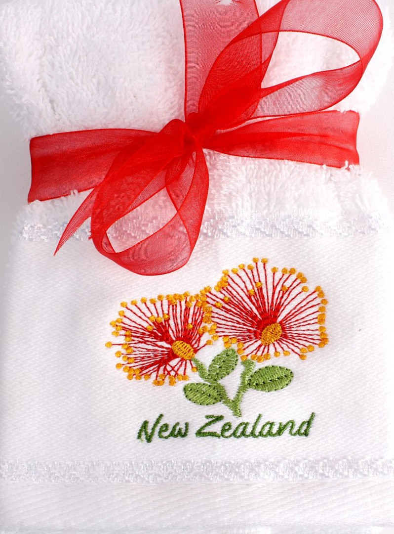 Matching Embroidered 2 facecloth gift set- Pohutakawa Code: FAC-POH/2SET image 0