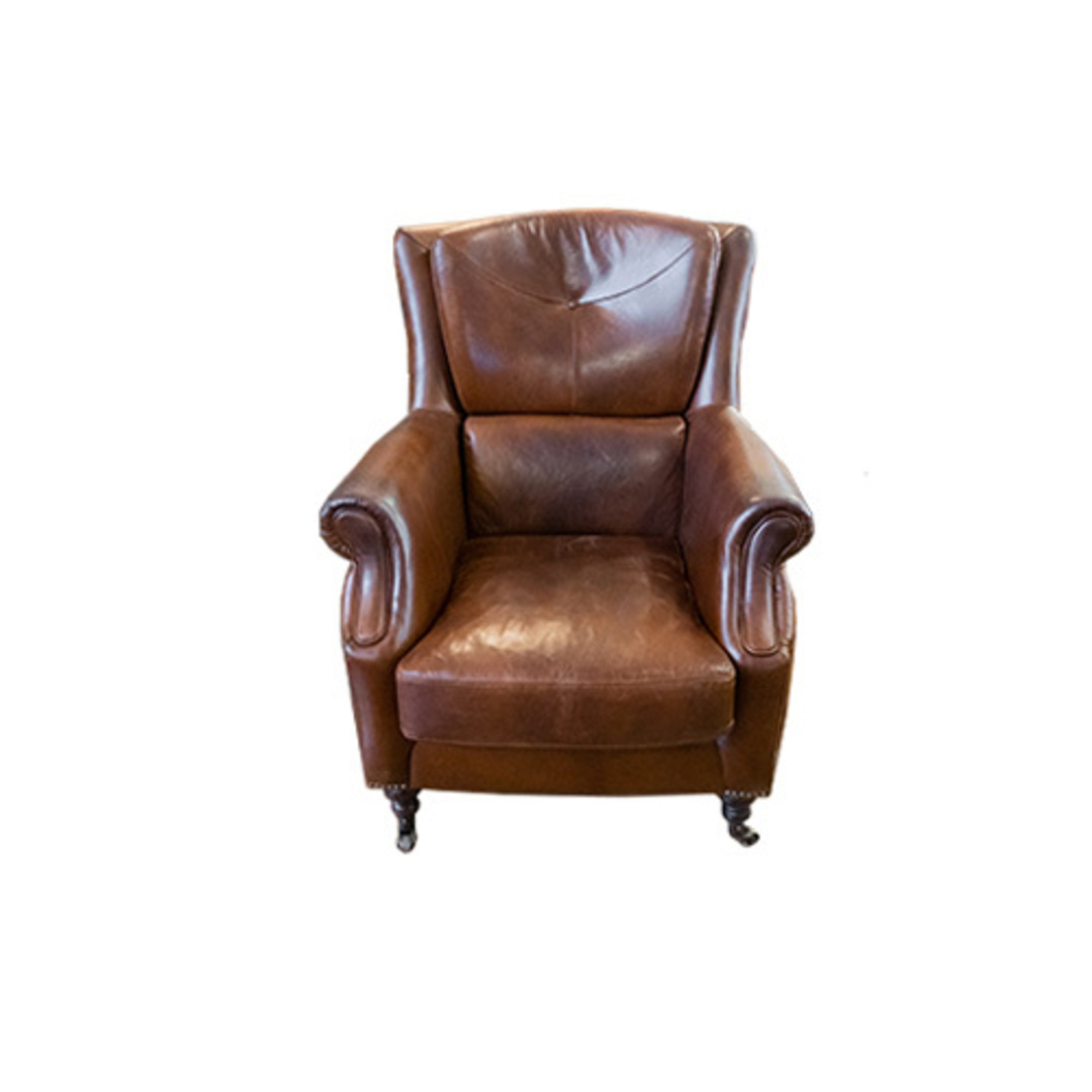 Windsor Aged Italian Leather Chair Brown image 1