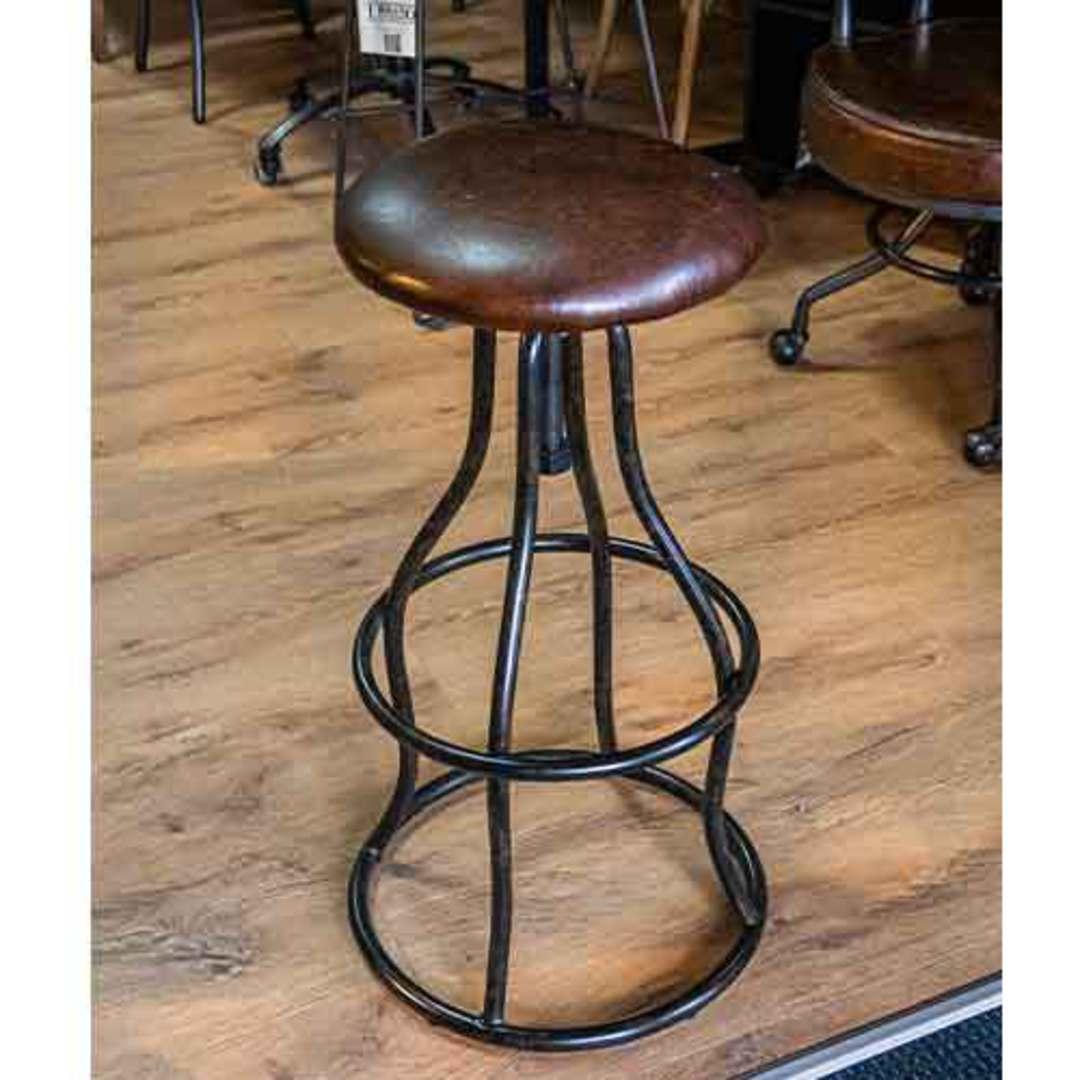 Vintage Industrial Leather Bar Stool Height Adjustable image 2