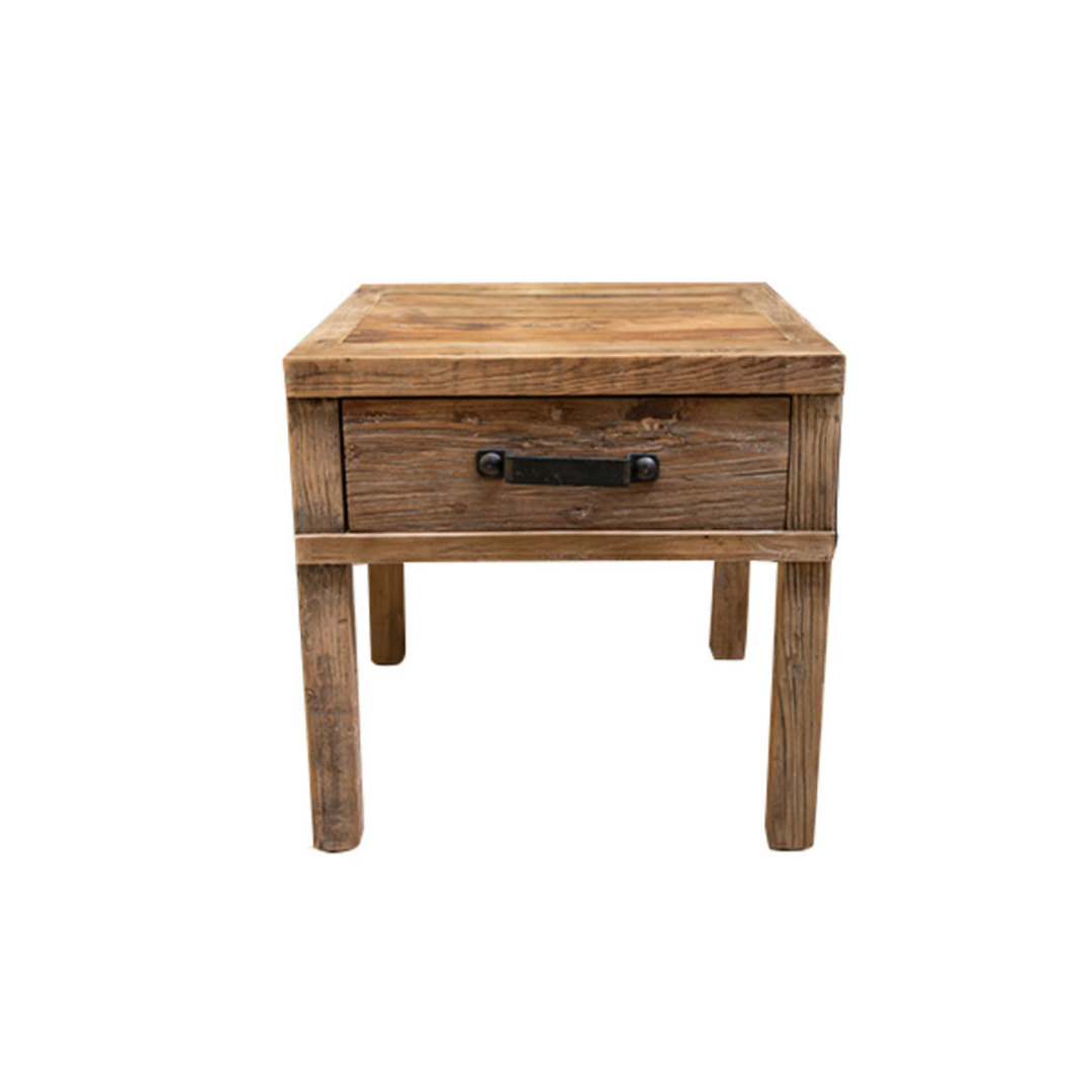 Recycled Elm Side Table 1 Drawer image 0