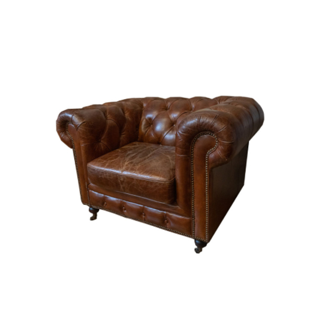 Chesterfield Aged Italian Leather 1 Seater Brown image 0