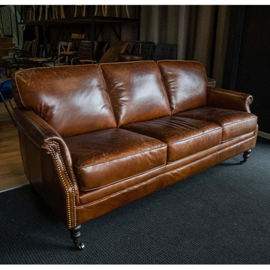 Sandringham Aged Italian Leather 3 Seater image 5
