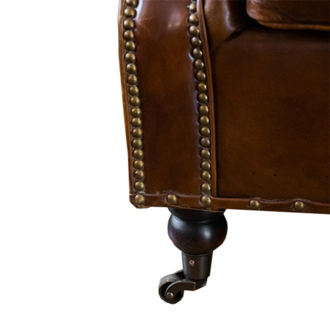 Churchill Aged Italian Leather Chair image 5