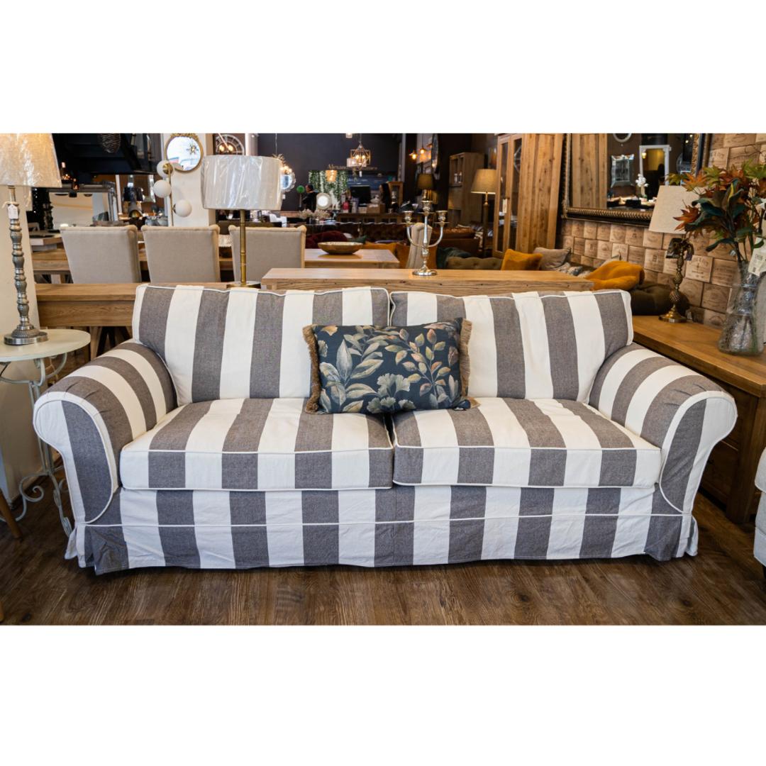 Isla Feather Filled 3 Seater Sofa Striped Dark Grey image 1