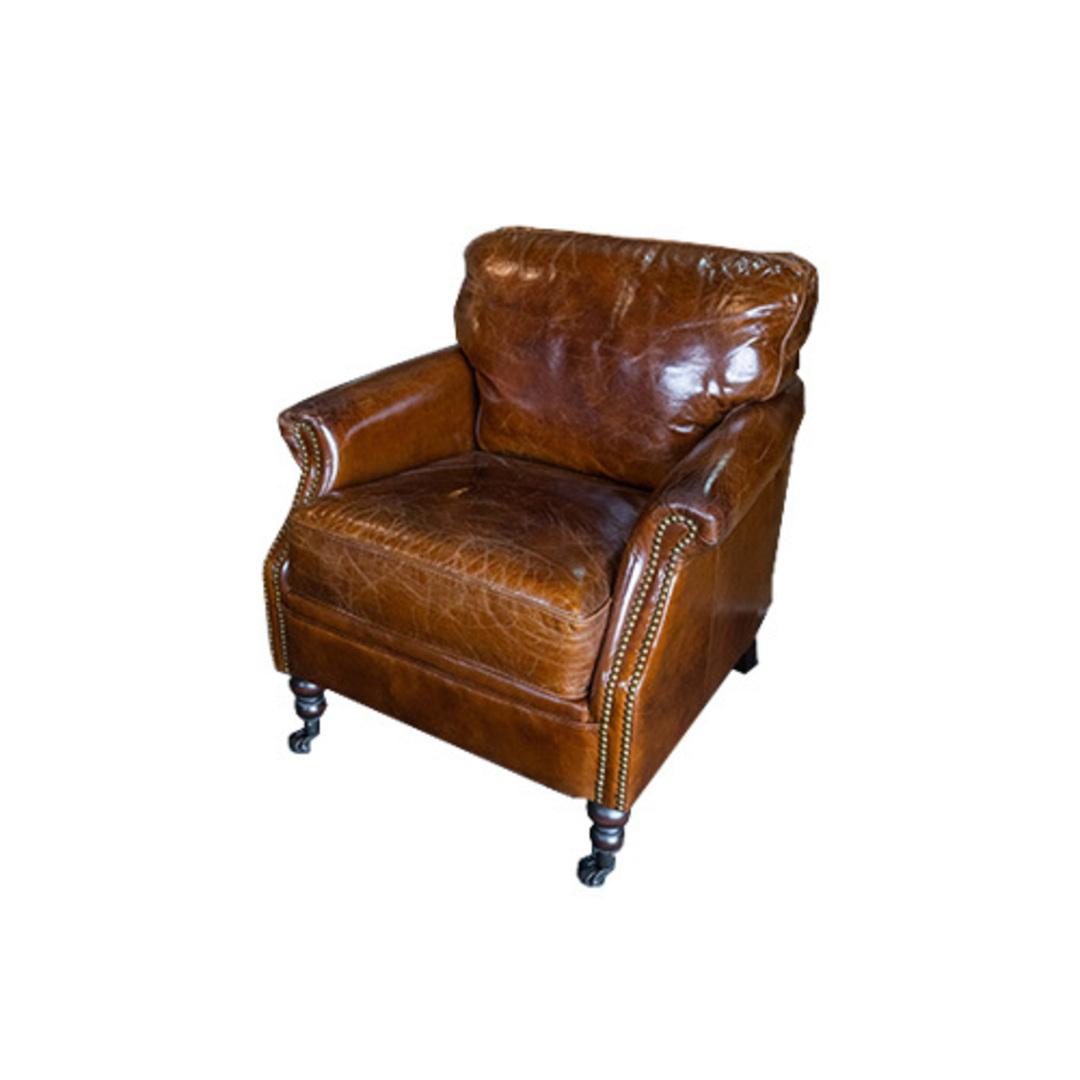 Sandringham Aged Italian Leather Armchair image 0