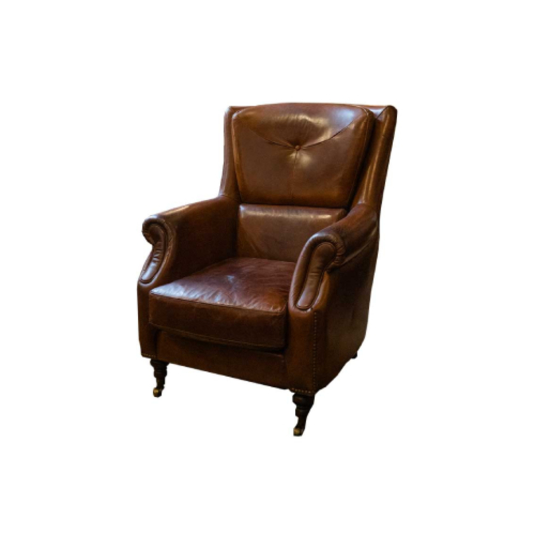 Windsor Aged Italian Leather Chair Brown image 0