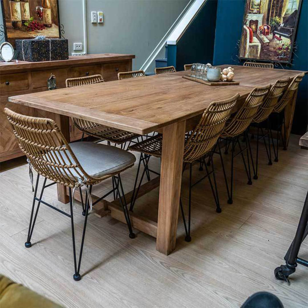 Recycled Elm Farmhouse Dining Table 2.1M image 4