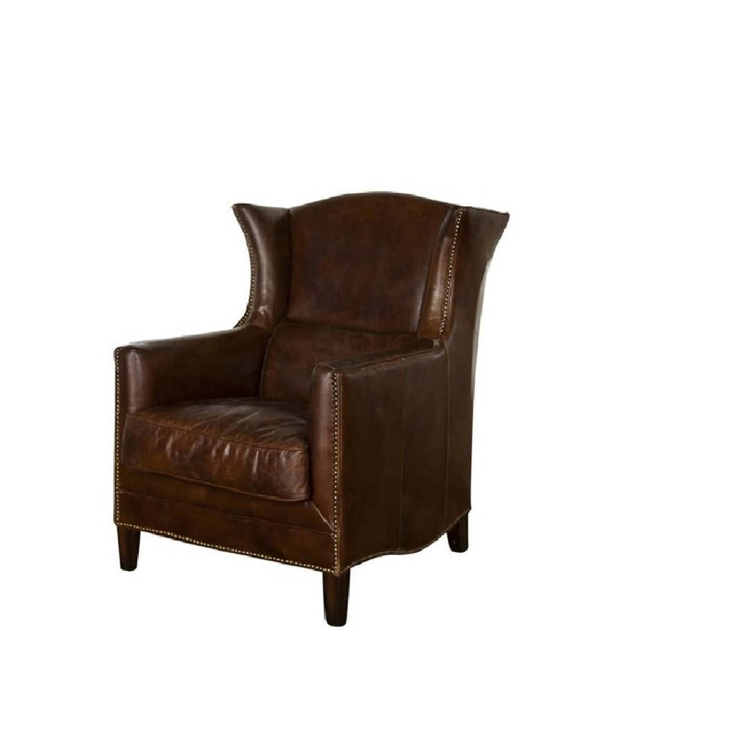 Aged Italian Leather Wing Armchair image 0