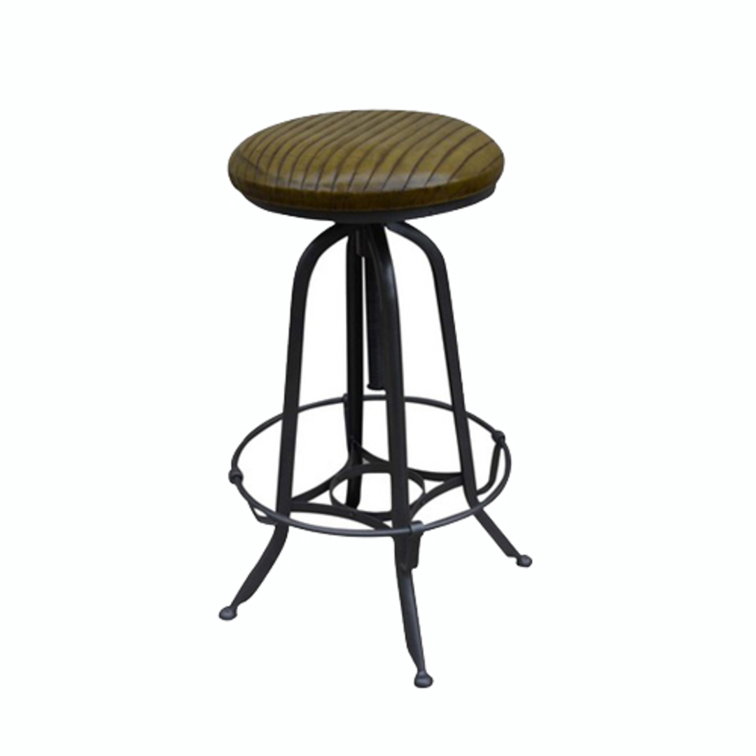 Industrial Leather Barstool image 0