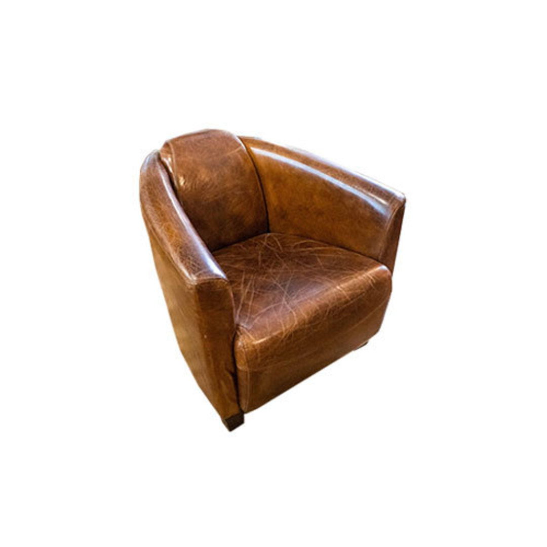 Manchester Aged Italian Leather Chair image 0