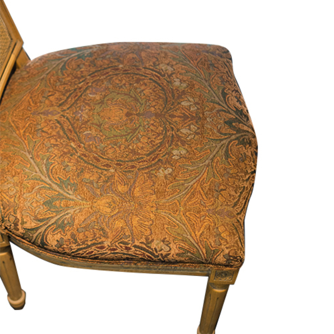 Marcel Dining Chair - Antique Oak With Jacquard Fabric & Rattan Back image 4