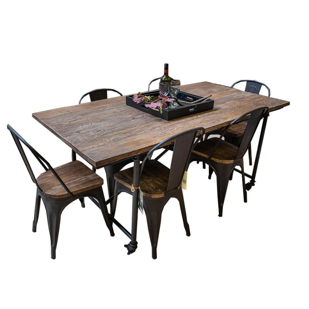 Industrial Dining Table Old Elm & Iron 1.8 Metres image 0
