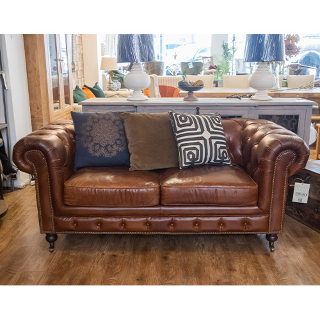 Chesterfield Aged Italian Leather 2 Seater Brown image 5