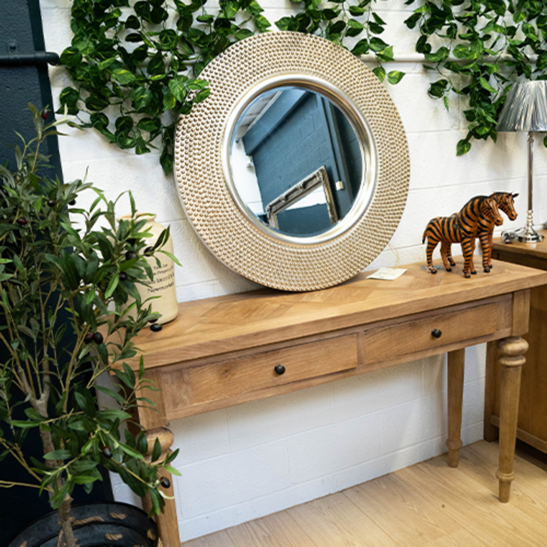 Recycled Elm Console 2 Drawer with Parquet Top image 6