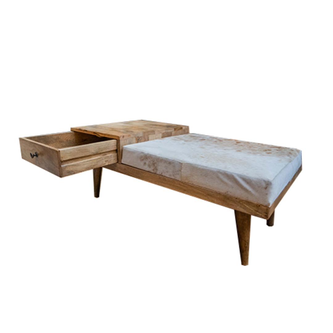 Mid Century Phone Bench With Cowhide image 3