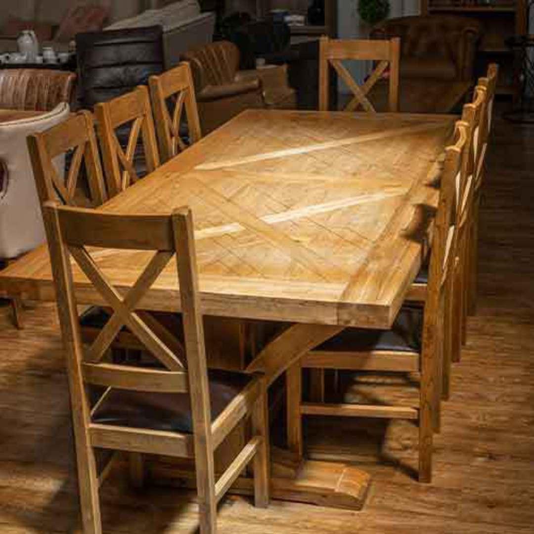 Oak Double Extension Table Parquet Top image 7