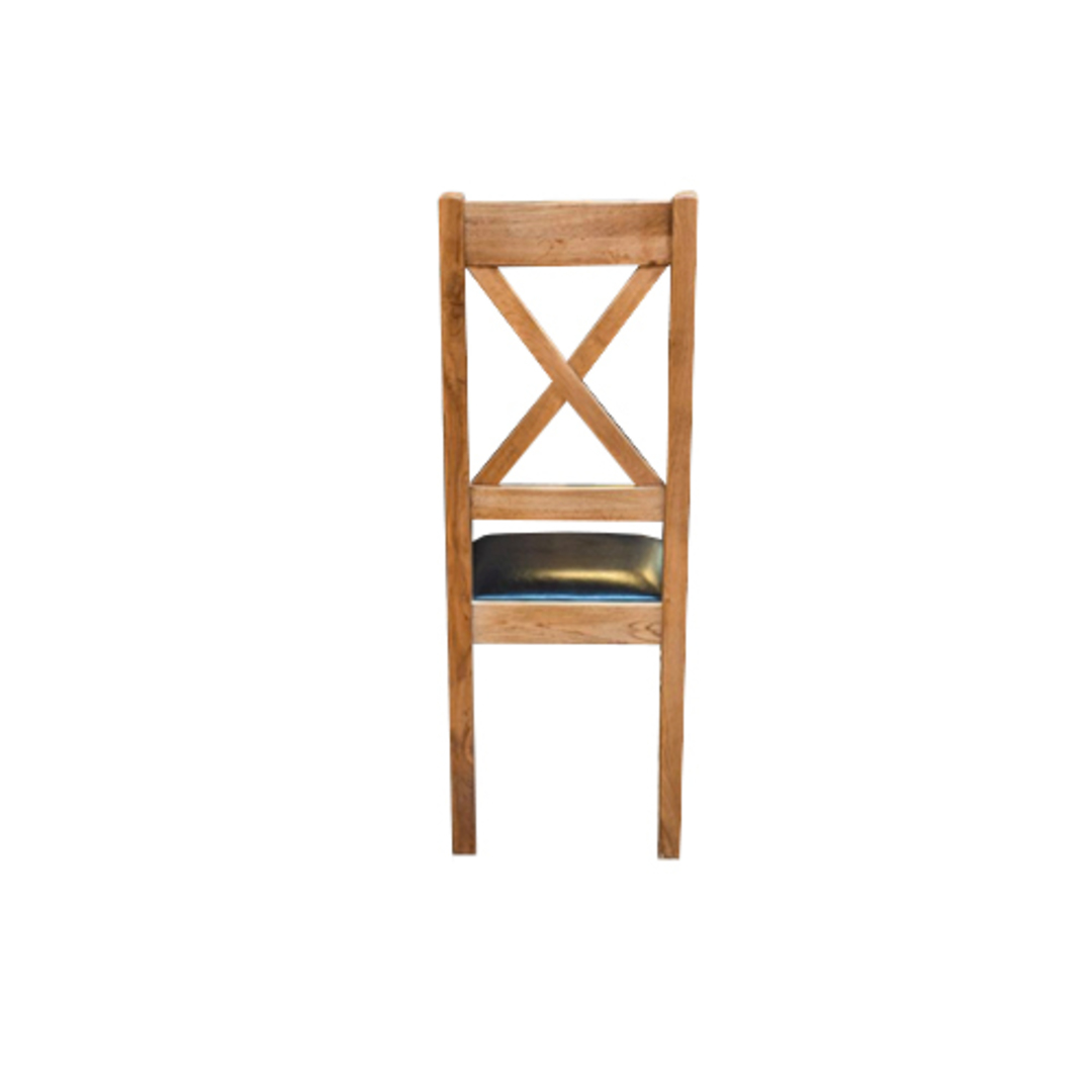 Chateau Oak Cross Back Leather Chairs - Dark Seat image 3