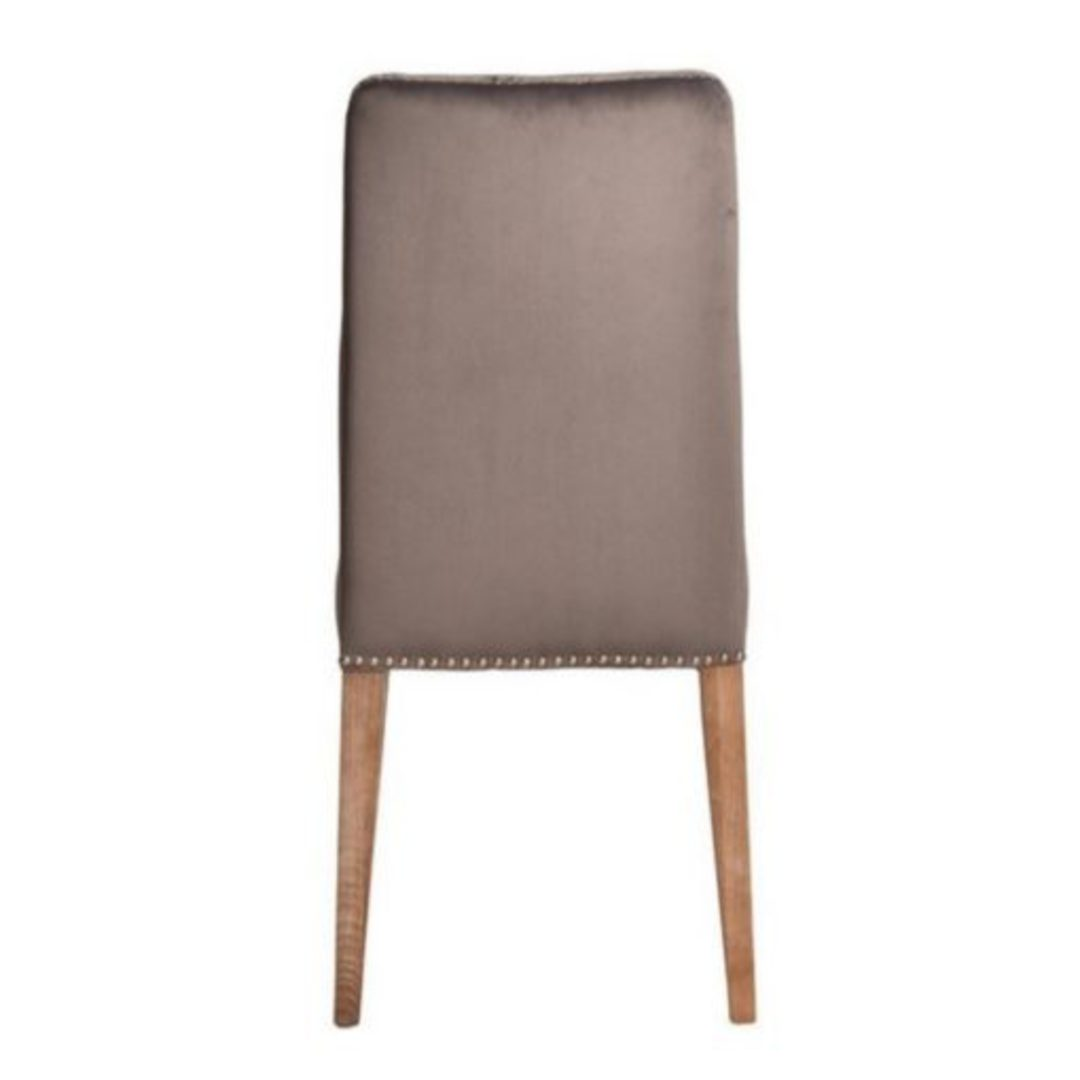Pascal Dining Chair Grey Velvet With Antique Studs image 3
