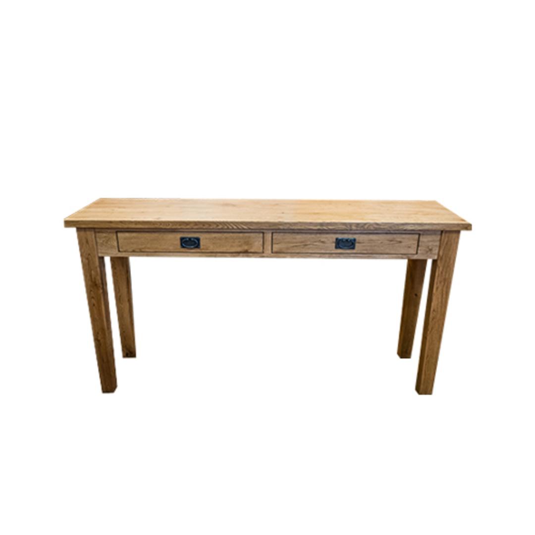American Oak Hall Table 2 Drawer image 0