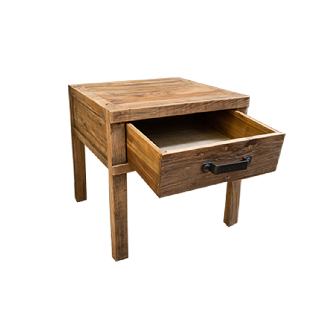 Recycled Elm Side Table 1 Drawer image 2