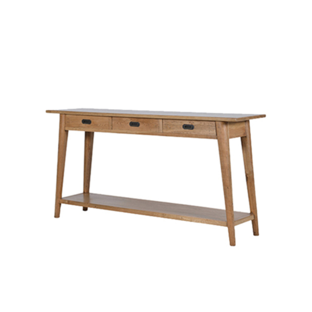 American Oak Console Table 3 Drawer image 0