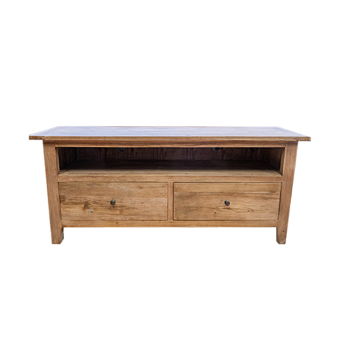 Reclaimed Elm TV Unit With 2 Drawer image 0