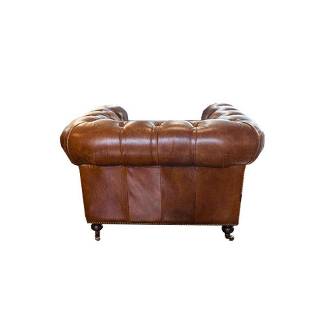 Chesterfield Aged Italian Leather 1 Seater Brown image 2