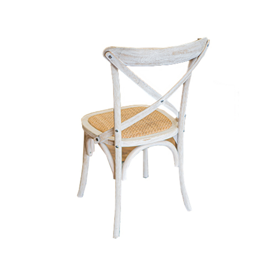 Marco Oak White Washed Wooden Cross Chair with Rattan Seat image 3