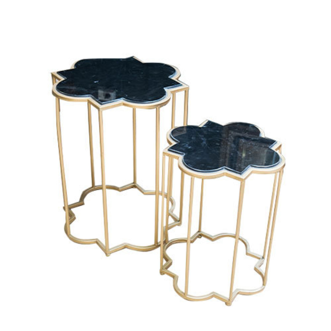 Gold & Black Marble Tables Set of 2 image 0