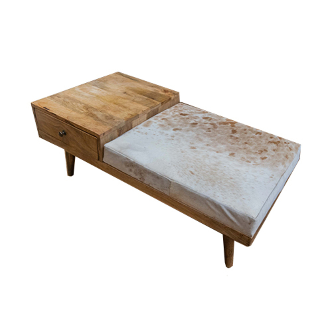 Mid Century Phone Bench With Cowhide image 2