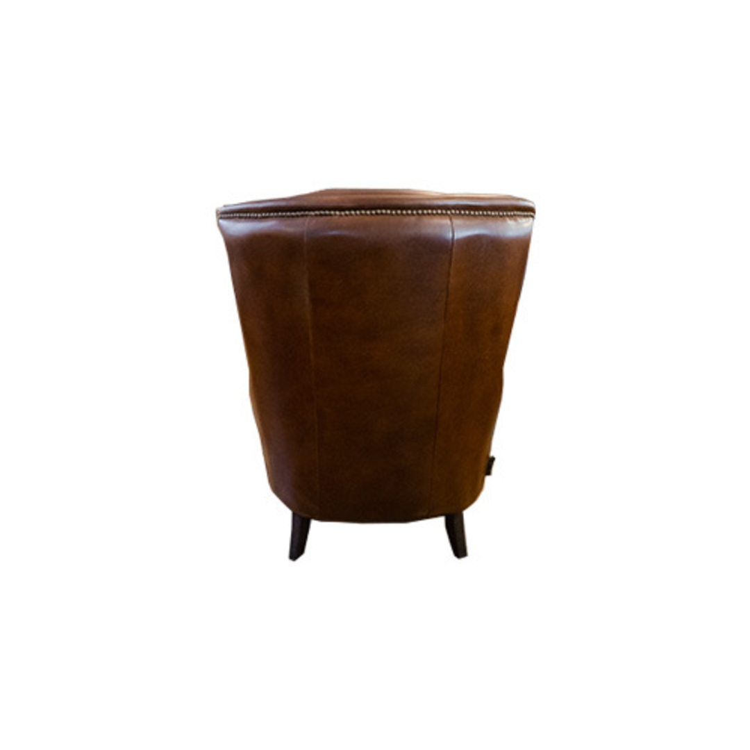 Windsor Aged Italian Leather Chair Brown image 3