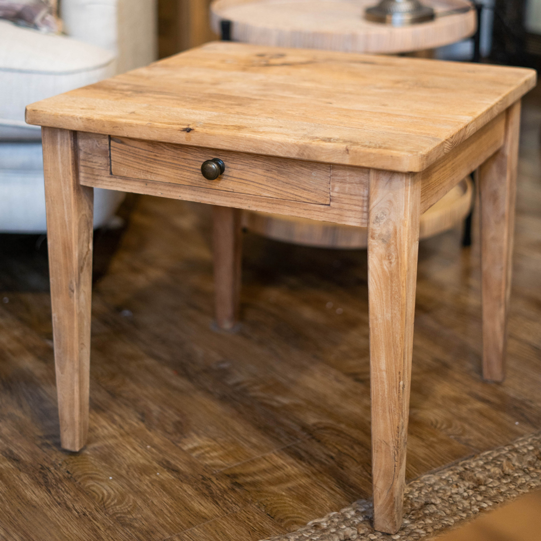 Recycled Elm French 1 Drawer Lamp Table image 4