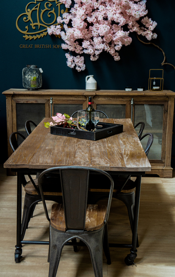 Industrial Dining Table Old Elm & Iron 1.8 Metres image 4