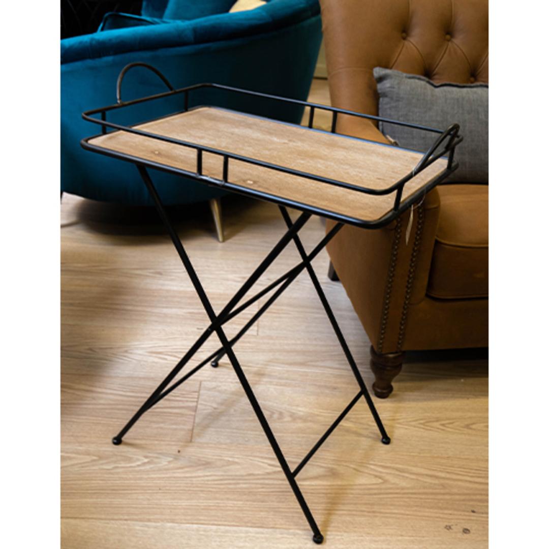 Metal & Wood Tray Table image 1