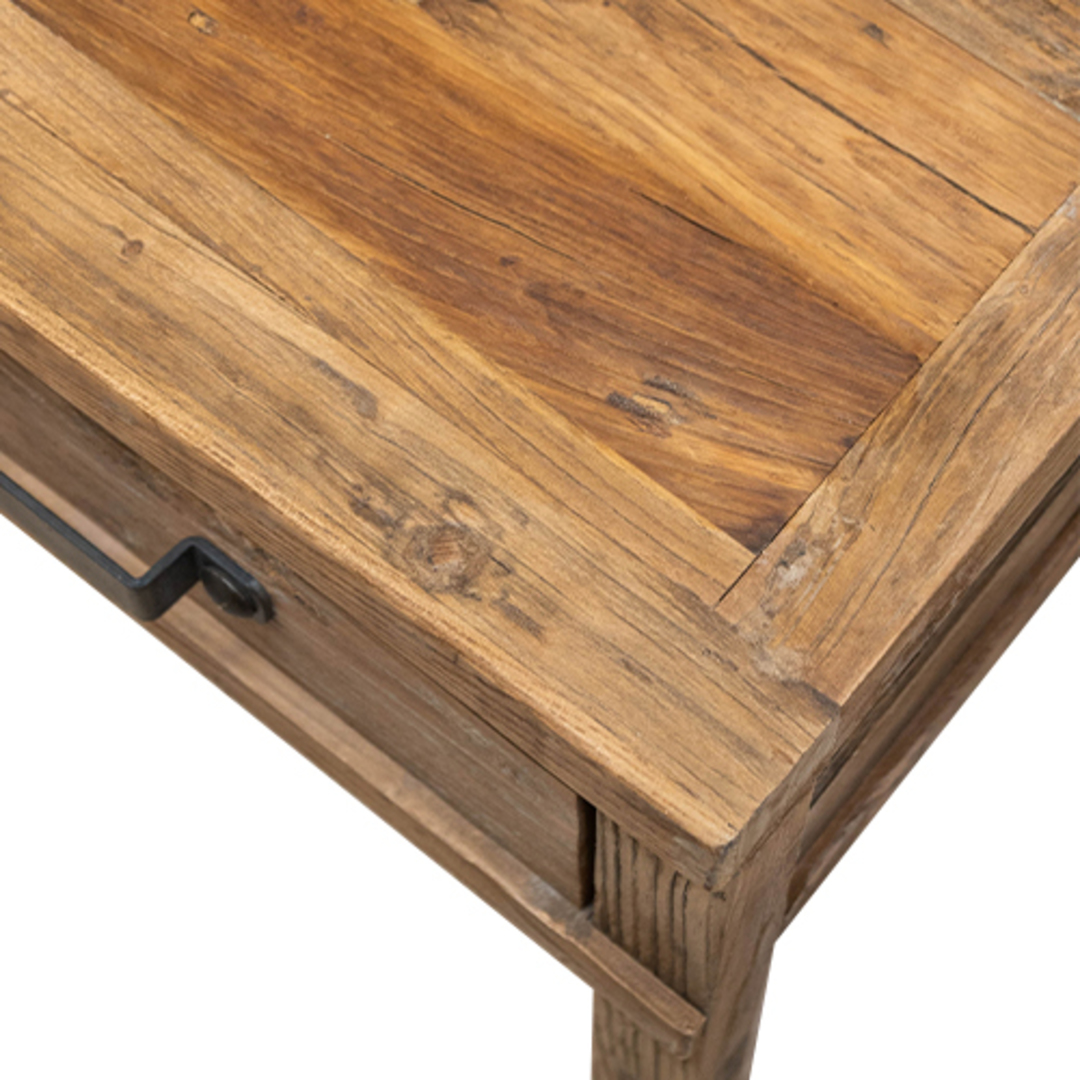 Recycled Elm Side Table 1 Drawer image 3