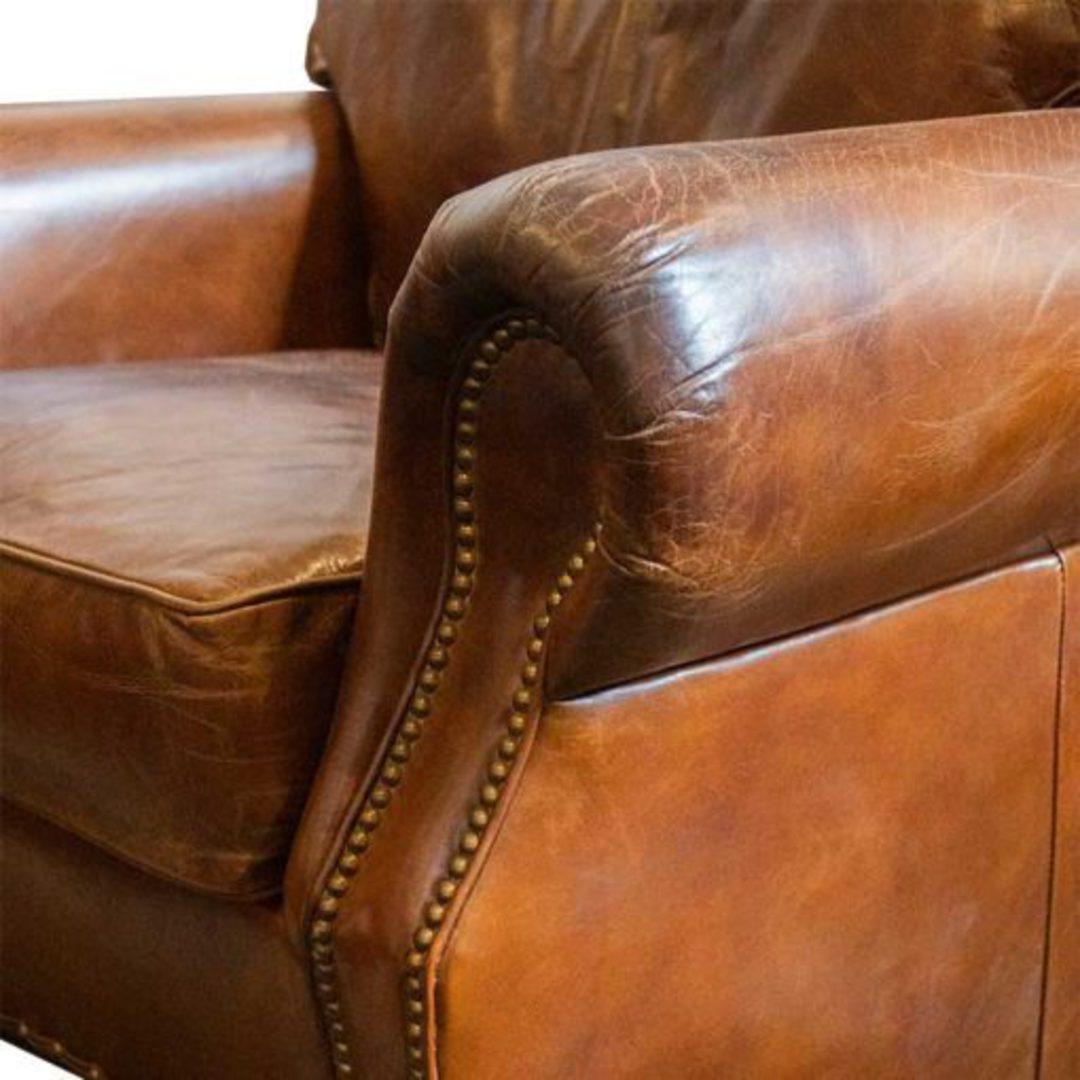Churchill Aged Italian Leather Chair image 4