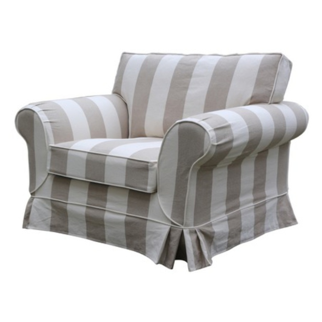 Isla Feather Filled  Armchair Striped Natural image 1