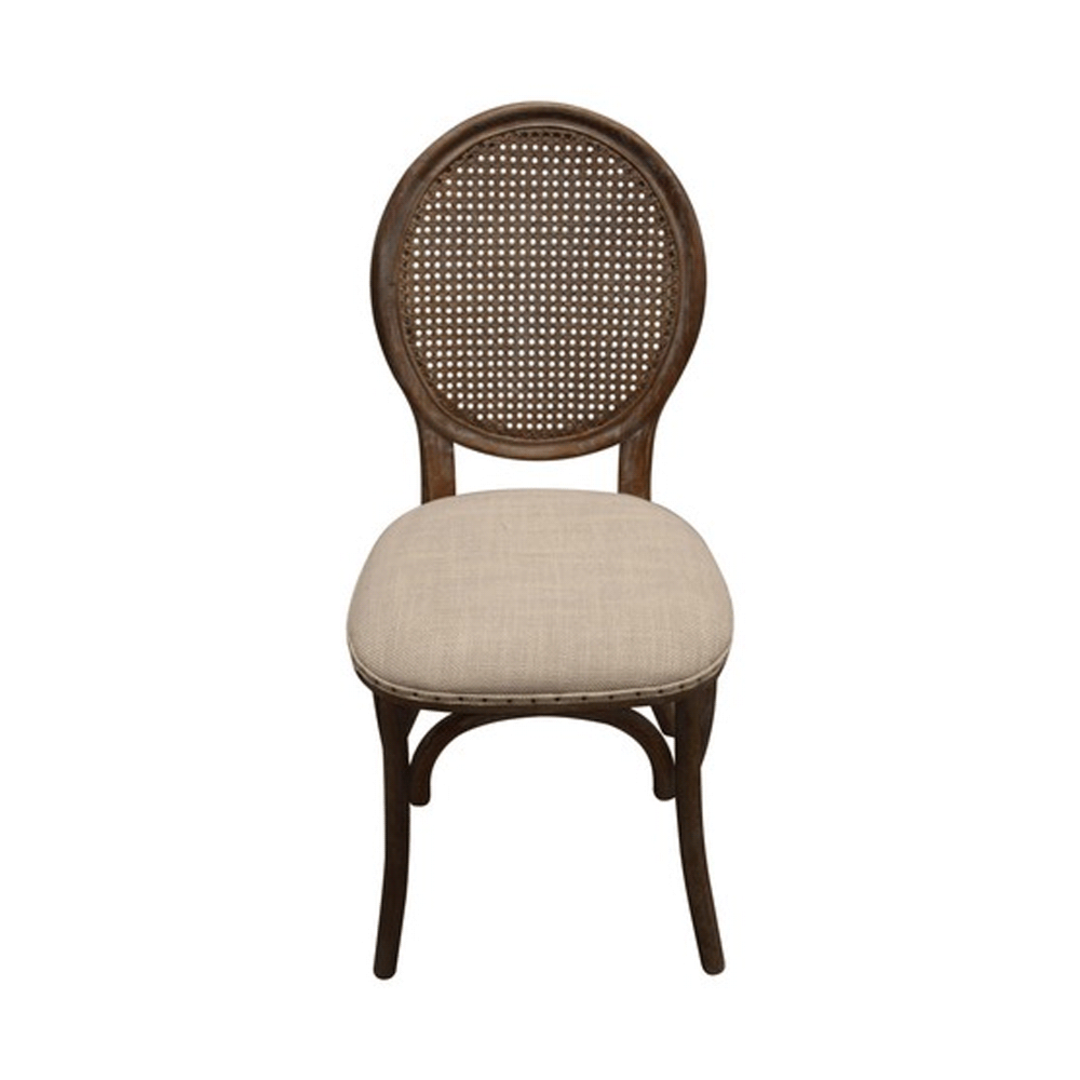 Heritage Dining Chair Burnt Oak with Natural Linen Seat image 1