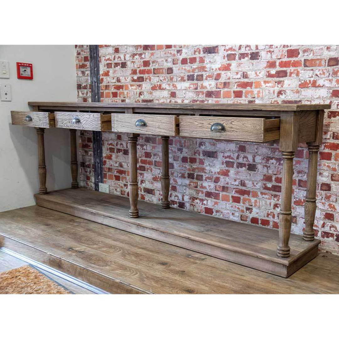 Reclaimed Elm Victoria 4 Drawer Console With Shelf image 3