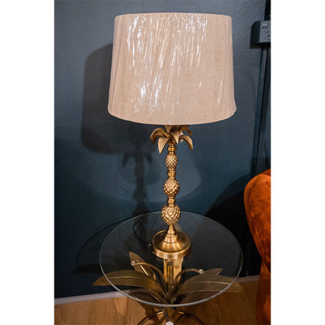 Antique Brass Table Lamp with Linen Shade image 1